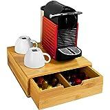 Bakaji Porte Capsules de Café Nespresso Dolce Gusto Lavazza Boîtee Rangement à Tiroirs Pour Capsules de Thé et Café en Bambou
