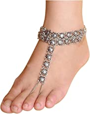 Shining Diva Antique Jewellery Silver Anklet for Girls & Women(Silver)(8271a)