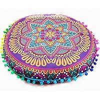 Funda de cojín Indio mandalas piso almohadas redondas bohemio funda de almohadas By LMMVP (43