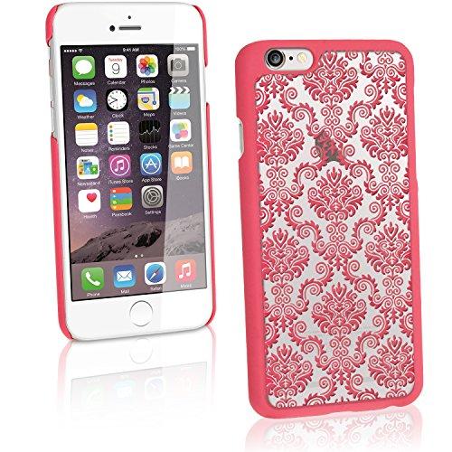 """igadgitz """"3D Designer Kollektion"""" Pink Damask Muster Hart PC Etui Tasche Schutzhülle für Apple iPhone 6 & 6S 4.7 Zoll Schale Case Cover + Displayschutzfolie Pink mit Damask Muster"""