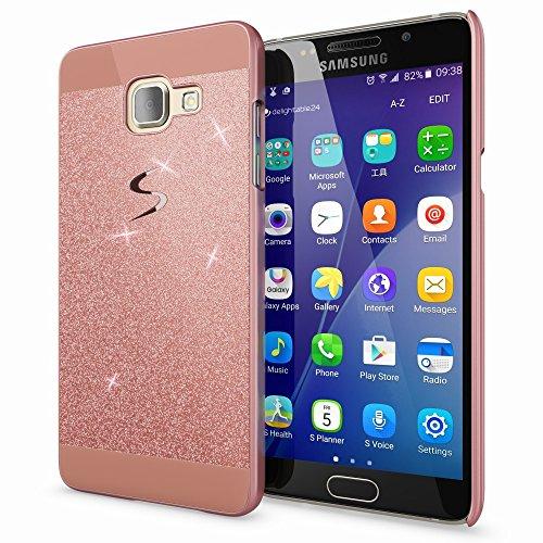 Bling Handy (Samsung Galaxy-A3 2017 Hülle Handyhülle von NICA, Glitzer Slim Hard-Case Back-Cover Schutzhülle, Handy-Tasche im Glitter Sparkle Design, Dünnes Bling Strass Etui Skin für SamsungA3 17, Farbe:Rose Gold)