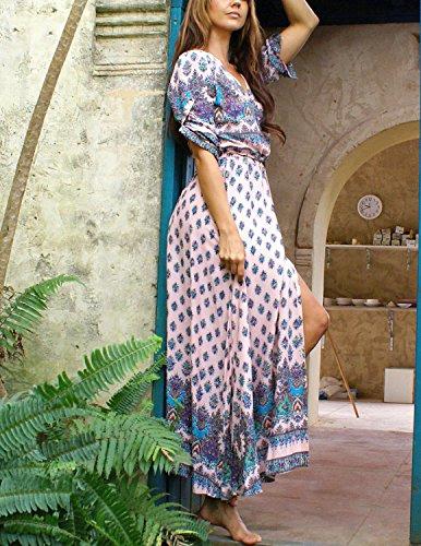 Modetrend Boho Robe Femmes Maxi Longue Robe Manches Courte Imprimé Fleur Sexy Col V Casual Cocktail Soirée Bohémien Plage Violet