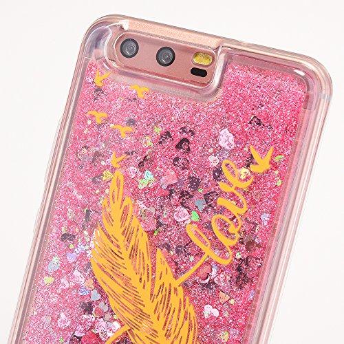 iPhone 8 Plus Hülle, Voguecase Diamond druckt Treibsand Glitzer Bling Silikon Schutzhülle / Case / Cover / Hülle / TPU + PC Gel Skin für Apple iPhone 7 Plus/iPhone 8 Plus 5.5(rose all day/Gold) + Grat Schwarz Feder/love