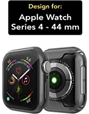Case U Soft Flexible TPU Screen-Protector Protective-Case for Apple-Watch-Series-4-44mm- Black