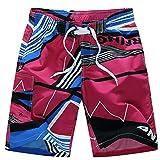Uomo Calzoncini da Mare Bermuda Costumi da Mare Pantaloncini da Bagno da Spiaggia da Surfe Pantaloni Corti da Nuoto Outdoor Casual Pantaloncini Boxer Estivi - Rosso - Taglia 5XL