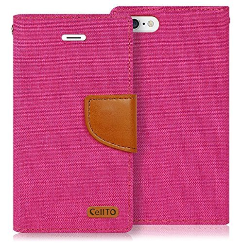 IPhone 6S Case, Cellto [Leinwand] Denim Wallet Abdeckung Standplatz und magnetische Klappe [Lebenslange Garantie] Flip-Cover für Apple iPhone 6S / iPhone 6 - Pink