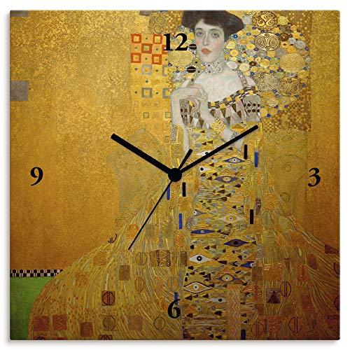 Artland Wanduhr ohne Tickgeräusche Leinwanduhr Funkuhr lautlos Quadratisch 30x30 cm Design Kunst Gustav Klimt Adele Bloch Bauer Frau Gelb T9LM