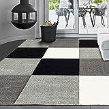 Moderner Designer Teppich, Kariert, handgeschnittene Konturen, Farbe Grau Weiß Schwarz- ÖKO TEX Zertifiziert - Pflegeleicht, VIMODA; Maße: 160x230cm