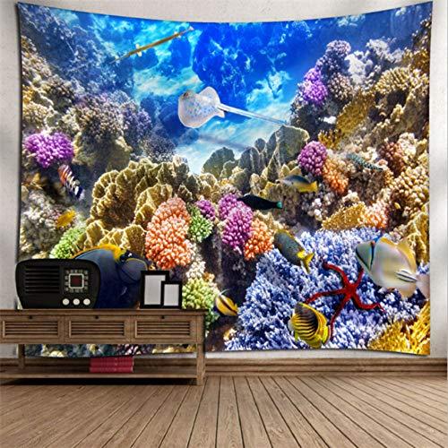 Rjjdd Unterwasserwelt Gedruckt Große Tapisserie Wandbehang Strandtücher Tagesdecke Yoga Matte Decke Home Wall Art Decor Meer Zuhause Dekor(200X150Cm)