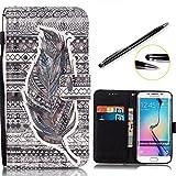 Lotuslnn Samsung Galaxy S6 edge (5.1 pouce) Coque Feuille , Nior,Dessin coloré Flip Wallet Cuir Etui Housse Case Cover pour Samsung Galaxy S6 edge -Coque+ Stylus Stift)