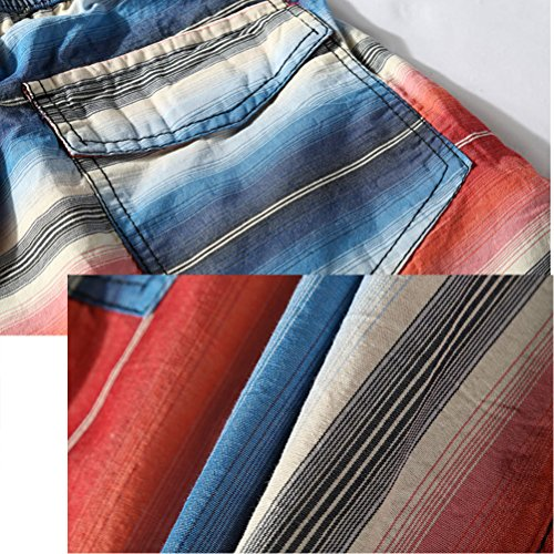 Zhhlaixing Mens Moda Multi colors Stripe Beach Shorts Casual Quick-dry Shorts Blue