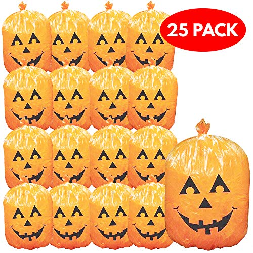 THE TWIDDLERS 25er Pack Halloween Laubsäcke Kürbis Dekor für Papier, Laub usw. - Ideal für Halloween Partys, saisonale Dekoration - Halloween Dekoration & Requisiten