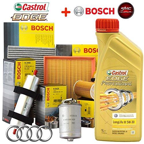 Kit tagliando 4 FILTRI Bosch + 5Lt olio Castrol Professional LongLife III 5W30 (1457429192 OPPURE F026407023, F026402068, F026400157, 1987432369)