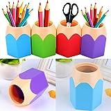 Flybuild Lot de 5 Assortd Couleur Stylo Vase Pot à crayons Maquillage Brosse Support Organiseur de bureau papeterie organiseu
