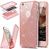 Coque iPhone 5S,Coque iPhone SE,Coque iPhone 5,Intégral 360 Degres avant + arrière Full Body Protection Bling Brillant Glitter Transparent Silicone Gel Coque Housse Etui pour iphone SE/5S/5,Or rose