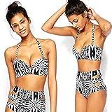 Bikini Femme Calistous, Parfaitement Superbe, Type à Bretelle Cou, Imprimé Géométrique, Soutien-Gorge Rembourré, Taille XL, Taille L