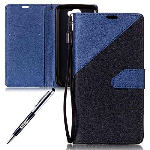 LG K7 Ledertasche,LG K7 Lanyard Brieftasche,JAWSEU Retro Kreative Matte fühlen Doppelte Farbe Muster Strap PU Leder+TPU Innere Handyhülle Flip Bookstyle Premium Schutzhülle Wallet Case Etui Lederhülle mit [Ständerfunktion] und [Kartenfächer] für LG K7+1xSchwarz Glitzer Bling Eingabestift-Schwarz+Blau