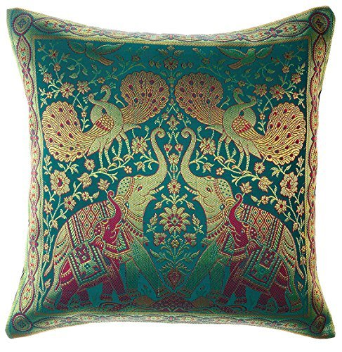 Avarada India Style Elephant Peacock Throw Pillow Cover Decorative Sofa Couch Cushion Cover Zippered 16x16 Inch (40x40 cm) Green by Avarada - Christopher Peacock