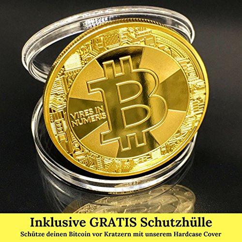 Bitcoin Münze Gold – 24 Karat Gold Beschichtung, Design 2017 aus Deutschland, hochwertige Optik, schwere Qualität, ideal als Geschenk oder Glücksbringer - 4