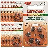 60 Batterie Acustiche Earpower Formato 13 / Arancione / Zinco Aria / Batterie per Apparecchi Acustici / P13 / A13 /