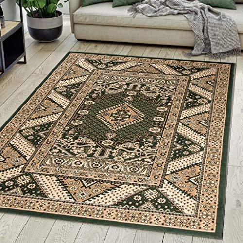 *Carpeto Rugs Teppich Orientalisch Grün Klassisch Muster Kurzflor Öko-Tex Wohnzimmer 200 x 300 cm*