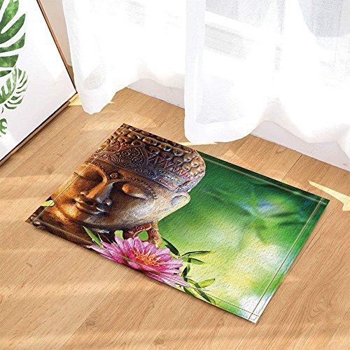 BuEnn Zen Decors Buddha aus Bronze mit Lotus im Bambus-Wald für Badteppich, rutschhemmend, für...