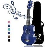 Strong Wind 21 pouces ukulélé pour débutants, guitare enfants à quatre cordes en bois Ukulele Soprano Bleu (avec sac de conce