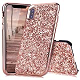 iPhone X Hülle, iPhone XS Hülle Glitzer, Huphant [2 in 1] iPhone X Hülle Luxus Sparkle Bling Glitter Phone Case Stoßfest Ultra Slim Anti-Scratch Hard PC Case Stoßfänger Rückseitige Abdeckung für Apple iPhone X / iPhone XS --Roségold
