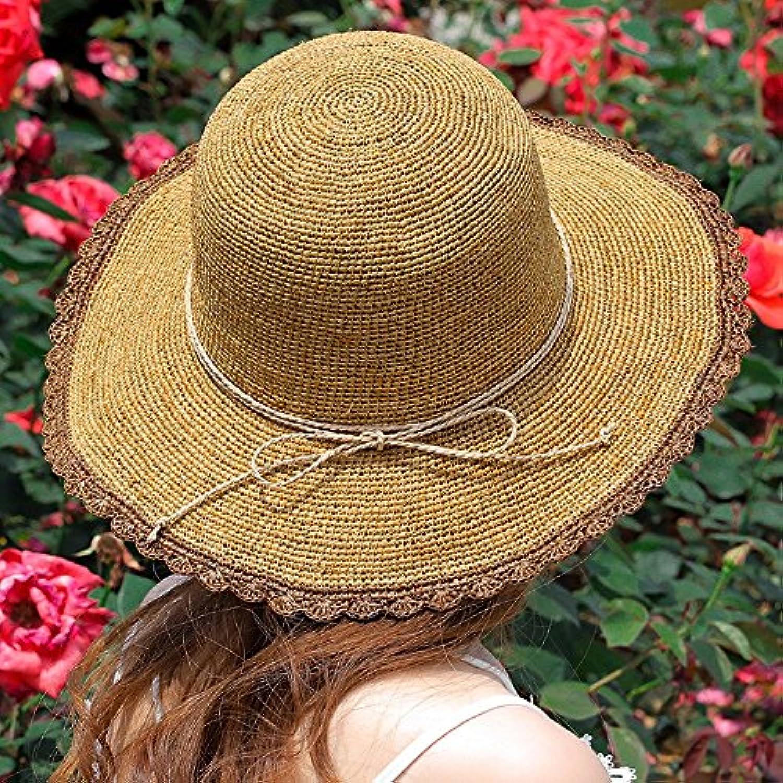 Cappello Sun YNN Paglia Donna Summer Sun Cappello Prossoezione Visiera  Rafia Pieghevole Spiaggia Casuale Grande Tesa Larga Spiaggia... Parent  8f1fe8 6dd401649e42