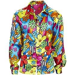 Camiseta flores hombre Camisa hippie de colores M 50 Disfraz hombre hippie ropa años 60 72 Parte de arriba flower power Outfit a la moda