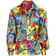 Blumenhemd Herren Buntes Hippiehemd Hippie Kostüm Männer Flower Power Hemd 60er 70er Jahre Kleidung Schlagermove Outfit