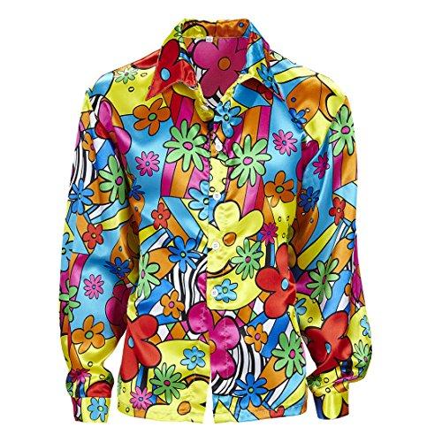 Blumenhemd Herren Buntes Hippiehemd XL 54 Hippie Kostüm Männer Flower Power Hemd 60er 70er Jahre Kleidung Schlagermove (Kostüme Hippie Männer)
