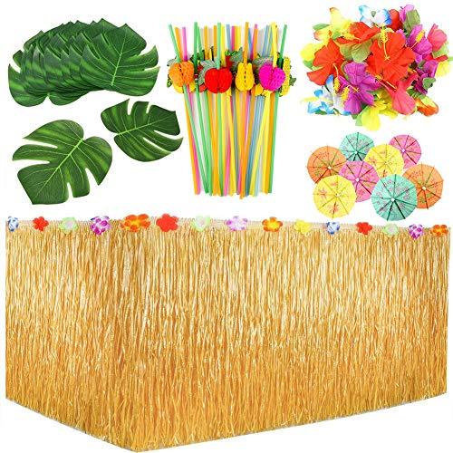 109er Set Hawaii Luau Party Deko | Beach Party Tiki Bar Karibik Sommerparty Strandparty Tikibar Garten Dekoration - Mit Tischrock | Tropische Blätter | Hibiskusblüten | Strohhalme | Mini Papierschirm (Tiki Bar Dekoration Party)