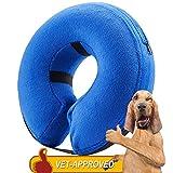 Homesupplier - Collar hinchable para perros y gatos, aprobado por veterinarios, collares de recuperación E diseñados para evitar que las mascotas se arañen y se muevan en lesiones, puntadas, heridas y erupciones, color azul