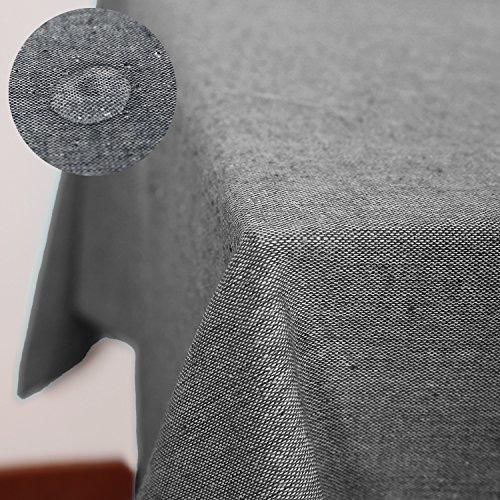 Deconovo Tischdecke Wasserdicht Tischwäsche Lotuseffekt Tischtuch 130x160 cm Schwarz