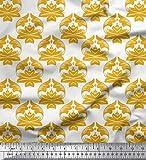 Soimoi Gold Baumwolljersey Stoff blühen Damast gedruckt