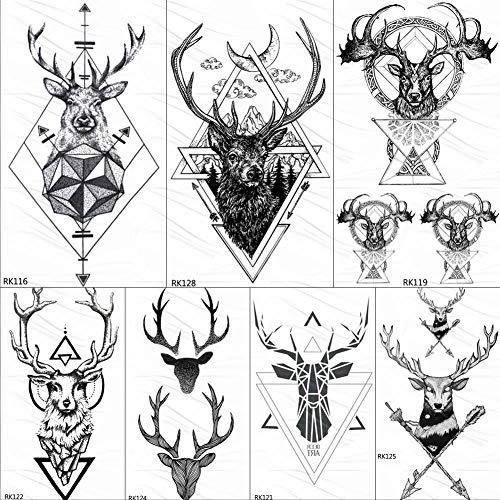 KAMRL Temporäre Tattoo-Aufkleber Geometrische Elch-Geweih-Temporäre Dreieck-Tätowierungen-Runder Pfeil-Rotwild-Rauten-Tätowierungs-Kunst-Arm-Schwarz-Fälschung 3D Tatoos-Aufkleber