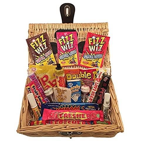 Retro Sweet Hamper Gift Basket - Choose from Retro, Pick n Mix, Fizzy Sour, Liquorice or Bon Bons. Perfect Confectionery Present for Him or Her, Husband or Wife, Boyfriend or Girlfriend, Son or