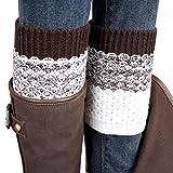 Socken Longra Damen Jacquard Strick Stulpen Socken Boot Cover Leggings Socken (Brown)