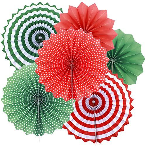 Natuce Party Papier Deko, 6 Stück Papier Rosetten Dekoration, Papier Fächer Fans Deko für Geburtstag Hochzeit Baby Dusche Parteien Hauptdekorationen. (Rot + Grün) Rot Rosette