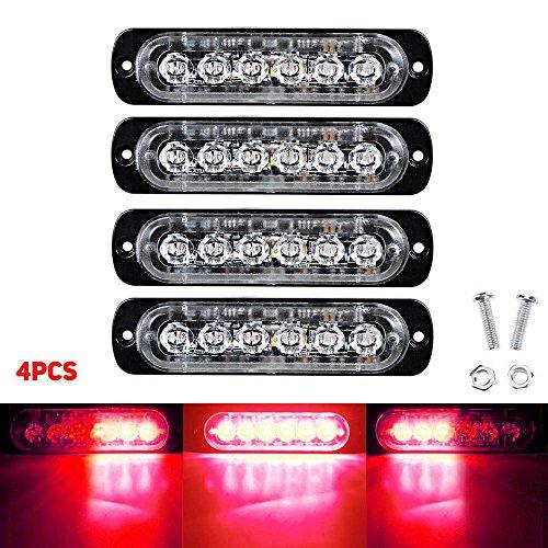 6LED 18W voiture lumière stroboscopique avertissement lumière rouge 4pcs
