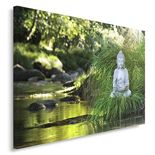Feeby. quadro - 1 parte - 60x80 cm, pannello singolo quadri su tela stampa artistica, buddha, zen, natura, verde