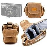 Petit étui + bandoulière pour Canon PowerShot G7 X Mark II et SX720 HS, Sony ILCE-5000L / 5000YB et Cyber-SHOT DSC-HX90, Fujifilm X70 et X-E2S appareils photo compacts - style vintage en toile beige - DURAGADGET
