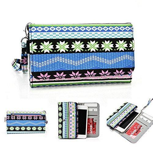 Kroo Téléphone portable Dragonne de transport étui avec porte-cartes pour Huawei Ascend Y330 vert bleu