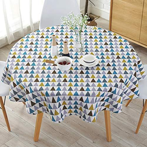 Semplice stile nordico, tovaglia rotonda tovaglie per tavolo circolare copertura antipolvere, cotone lino, copertura per tavolo da buffet, feste, cene, Color Triangle, Taglia libera