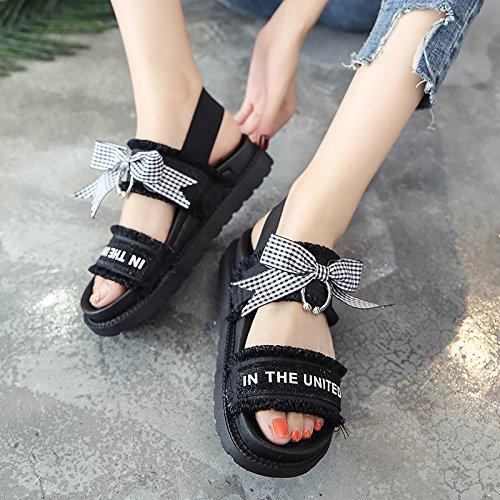 Lgk & Fait Des Sandales D'été Pour Les Femmes Sandales D'été Fond Épais Bow Chaussures Pour Les Femmes Sandales De Style Étudiant Noir