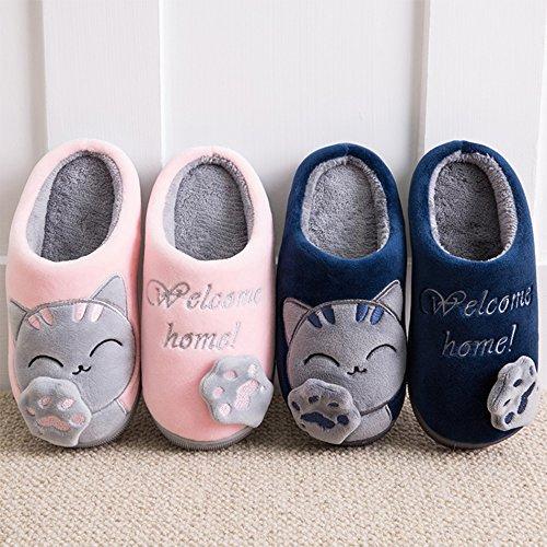 Pantofole Da Gatto Nasonberg Da Donna, Ciabatte Da Uomo In Caldo Cotone Invernale Con Ciabattine Di Peluche Blu Antiscivolo