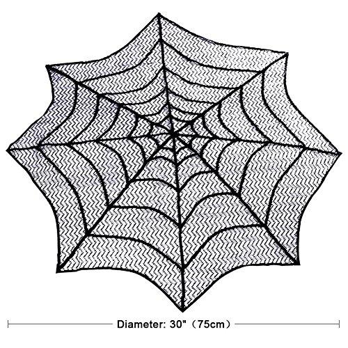 Takefuns 2PCS Halloween Mitteldecke Rund Polyester Spitze Tischläufer, Schwarz Spider Web–Perfekt für Halloween, Abendessen und Scary Movie Nights 76,2x 76,2cm