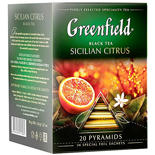 Greenfield Schwarztee Sicilian Citrus 2er Pack (2 x 20 Pyramidenbeutel) Tee black Pyramid Tea Schwarztee