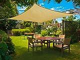 SUNLAX Wasserdicht Sonnensegel Sonnenschutz Garten - Rechteck 4x5m, UV-Schutz wetterbeständig HDPE Segel, Sand